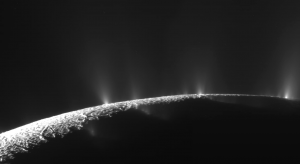 One of Cassini's images of geysers on Enceladus.