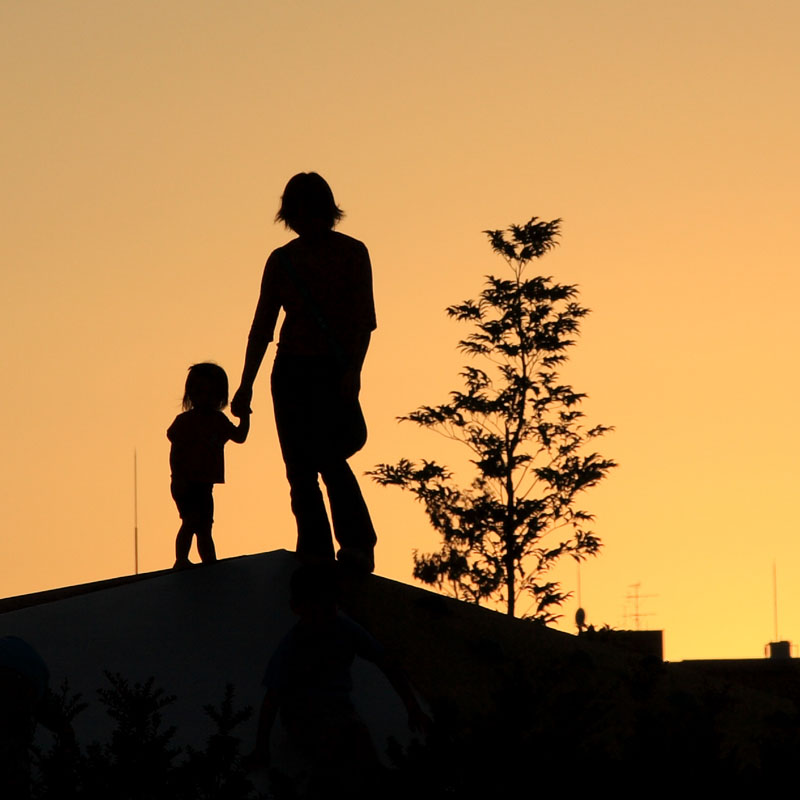 Parent and Child at Sunset by Kazuhiko Teramoto