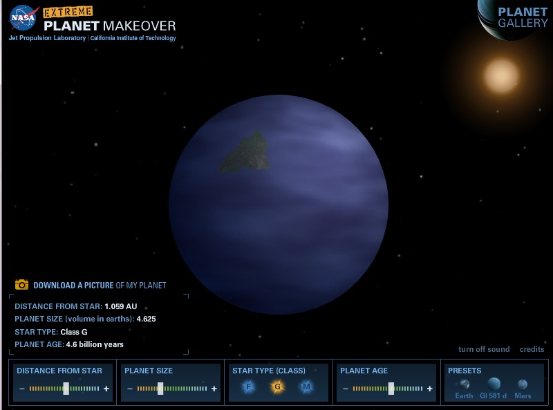 My FAKE exoplanet, which I made in NASA's Extreme Planet Makeover Game